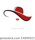stylized lady with red hat and red lips 54890922