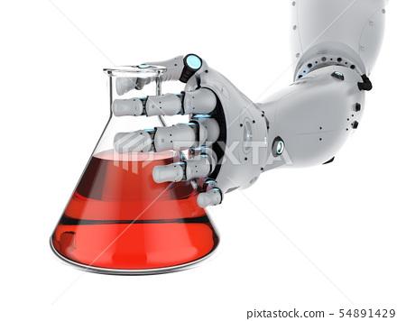 robotic hand holding beaker 54891429