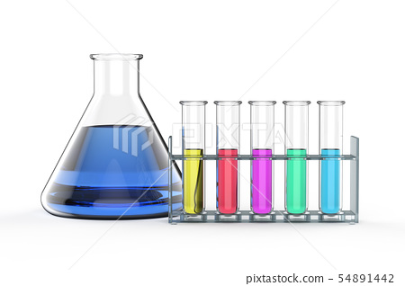 laboratory glassware with colorful liquid 54891442