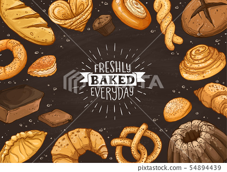 Fresh Bread Poster Vector Ilustration 54894439