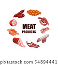 Meat Products Set Vector Illustration 54894441