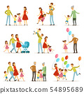 Big happy family with mother, father, grandmother and grandfather. Two smiling kids. Vector 54895689