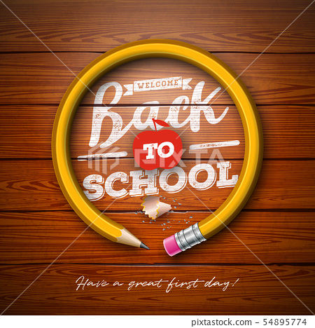 Back to school design with graphite pencil and typography lettering on vintage wood texture 54895774