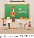 Children with teacher on the lesson in classroom. Vector school background 54895777