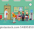 Patients and disabled peoples waiting doctor in clinical room. Vector medical illustration 54895850