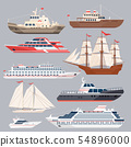 Set of different vessels. Sea boats and other big ships. Vector illustrations in flat style 54896000