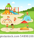Funny children at summer playground. Kids playing in park. Vector illustration 54896166