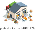 Warehouse building, trucks and load machines. Different pallets and boxes. Logistics vector 54896176