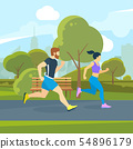 Runners in the city park. Urban lifestyle vector illustration 54896179