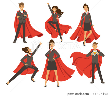 Businesswoman in action poses. Female superhero flying. Vector illustrations in cartoon style 54896198