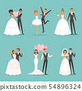 Married couple characters set. Wedding mascot design in cartoon style. Brides in beautiful clothes 54896324