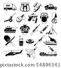 War monochrome icons set. Silhouette of military pictures. Battleship, soldiers, trucks, and 54896341