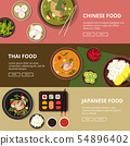 Three horizontal banners with thai, japanese and chinese food. Vector illustrations with place for 54896402