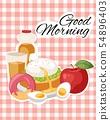 Breakfast brunch banner concept vector illustration. Healthy start of day. Eating in morning. Food 54896403