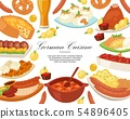 German cuisine background banner vector illustration. Traditional food in Germany. Cooked meat meal 54896405