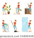 Woman making different housework. Active mother at homework. Vector illustration in cartoon style 54896408