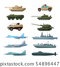 Naval vehicles, airplanes and different warships. Illustrations of artillery, battle tanks and 54896447