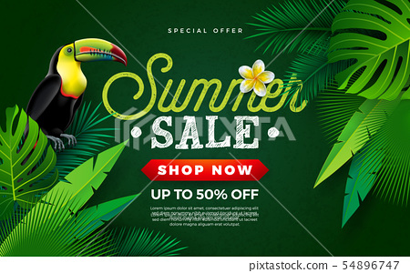 Summer Sale Design with Flower, Toucan Bird and Tropical Palm Leaves on Green Background. Vector 54896747