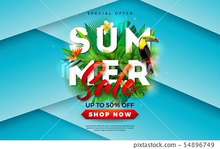 Summer Sale Design with Flower, Toucan Bird and Tropical Palm Leaves on Blue Background. Vector 54896749