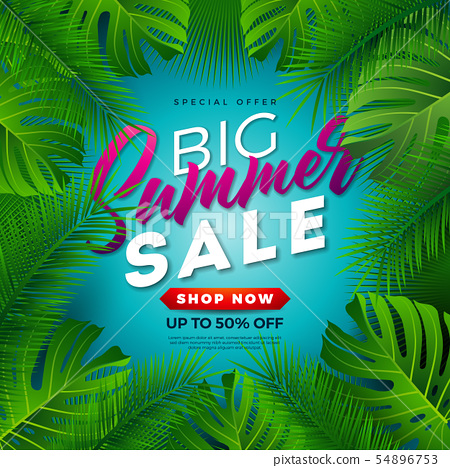 Summer Sale Design with Tropical Palm Leaves on Blue Background. Vector Special Offer Illustration 54896753