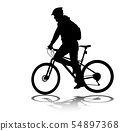 man riding bicycle silhouette 54897368