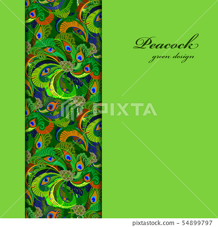 Green vertical border peacock feathers pattern 54899797