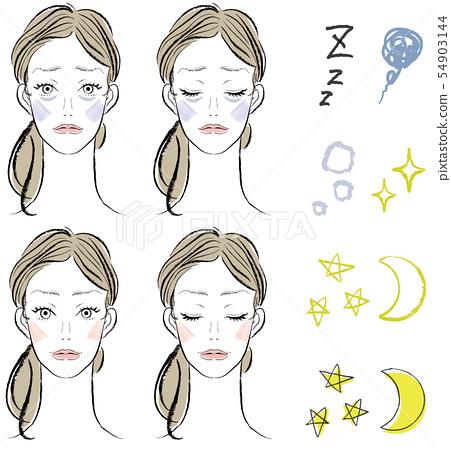 Lack of sleep / sleepy girl and icon set 54903144