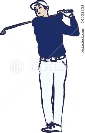 新年的卡片例證高爾夫球 54903852