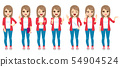 Teenage girl standing different expressions 54904524