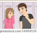Young teenager happy boy talking to shy girl 54904535