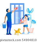 Father and Daughter Wash Window Together Cartoon 54904810