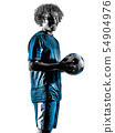 young teenager soccer player man silhouette isolated 54904976