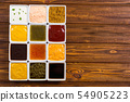 Set of different sauces in ceramic bowl 54905223