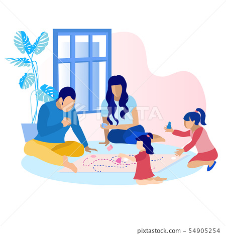 Happy Parents with Children Playing Game at Home 54905254