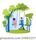 Brother and Sister Swinging on Swing Flat Cartoon 54905257
