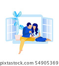Faceless Couple Sitting on Windowsill Cartoon 54905369