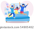 Children Having Fun at Home Flat Illustration 54905402