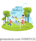 Happy Mother Day Greeting Card with Cartoon Family 54905532