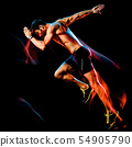 topless muscular man runner. running jogger jogging isolated black background 54905790