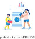 Children Load Laundry into Washing Machine Cartoon 54905959