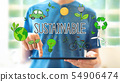 Sustainable with man using a tablet 54906474