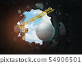 3d rendering of construction crane and white fitball breaking black wall 54906501