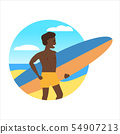 Icon activty on ocean sea summer man with surfing board. Vacation trip holiday beach , surf, palms 54907213