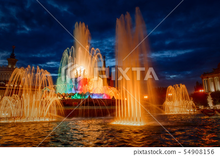 Moscow Fountain Stone Flower at  late evening 54908156