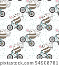 Seamless kawaii panda is riding a bicycle with a c 54908781