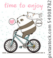 Kawaii panda is riding a bicycle with a cat 54908782