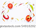 Various fresh vegetables and herbs on white 54910202