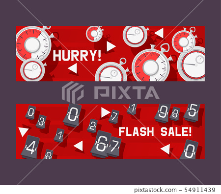 Timer concept set of banners vector illustration. Hurry not to be late for discount in shop or store 54911439