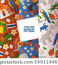 Thailand set of seamless patterns. Traditions, culture of country. Ancient memorials, buildings 54911446