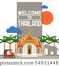 Welcome to Thailand banner. Traditions, culture of country. Ancient memorials, buildings, nature and 54911448
